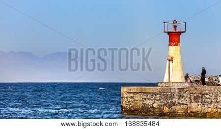 Lighthouse in the harbor of Fish Hoek South Africa