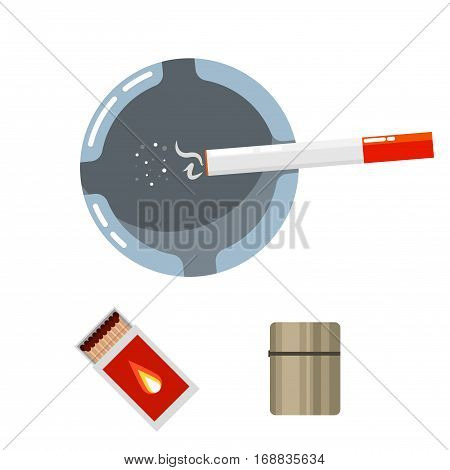 Ashtray top view with smoldering cigarette, matcbox and lighter cartoon vector illustration.