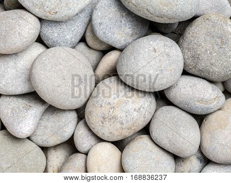 Grey pebbles shot from above