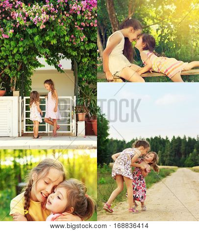 photo collage of happy smiling and laughing Children Playing running in the field making faces hagging and relaxing outdoor in Summer