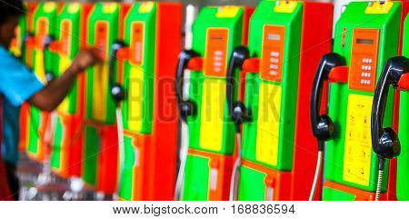Old public pay phones in Bangkok Thailand