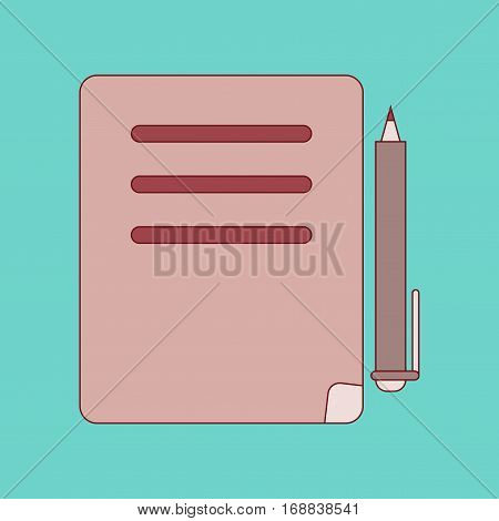 flat icon with thin lines notebook and pen
