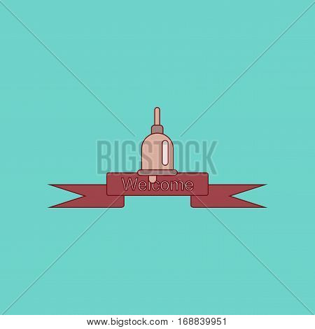 flat icon with thin lines school bell