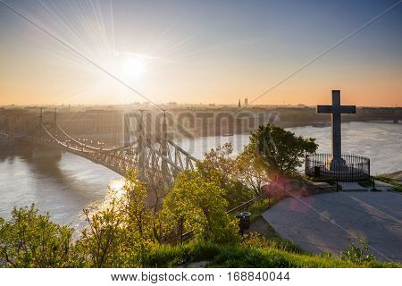 Sunrise over Danube river and Freedom bridge - Szabadsag hid -from Gellert hill in Budapest Hungary