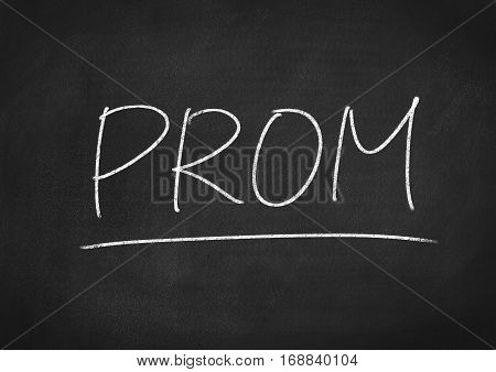 prom concept word text on blackboard background