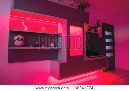Modern designed furniture in livingroom with led backlight