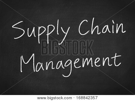 supply chain management concept word text on blackboard background