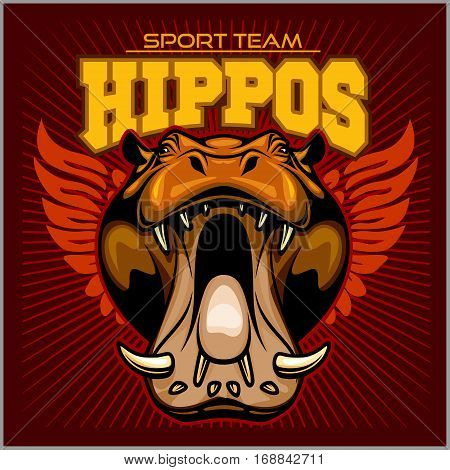 Hippo head and wings - sport team. Mascot vector illustration on red background