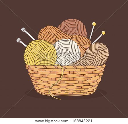 balls of yarn and knitting needles in basket isolated on white background
