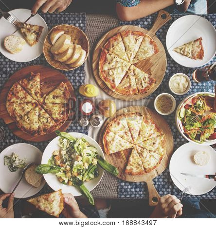 Pizza Party Happiness Hangout Concept