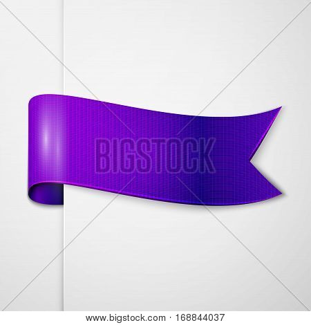 Realistic shiny indigo ribbon isolated on white background. With space for text. Vector illustration