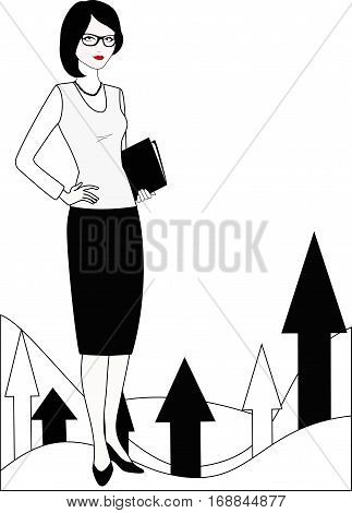 Specialist in public relations  is on background of growing graphic.  Political strategist, coordinator, PR Manager, businesswoman, etc. Isolated on white. Linear, flat vector. White-black variation.