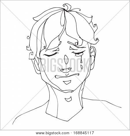 The boy crying heavily, human emotions. Sketch hand-drawing contour vector graphics. Illustration for coloring