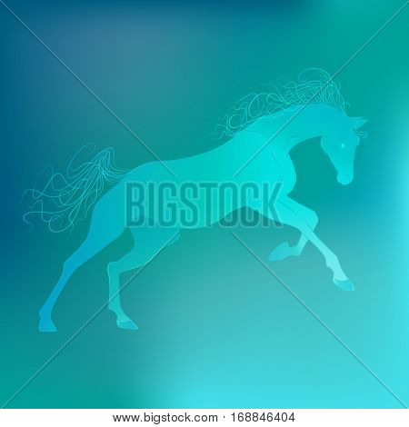 Brightly glowing vector illustration of a galloping horse. Juicy blue aquamarine background