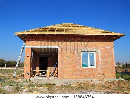 Building new bricks finnish sauna house construction exterior.