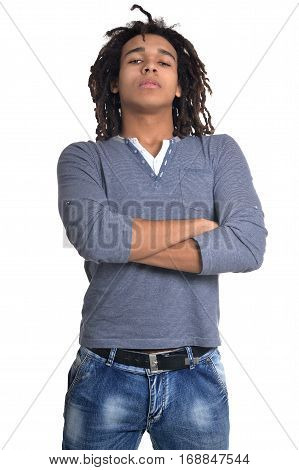 young man making facial expression against white background