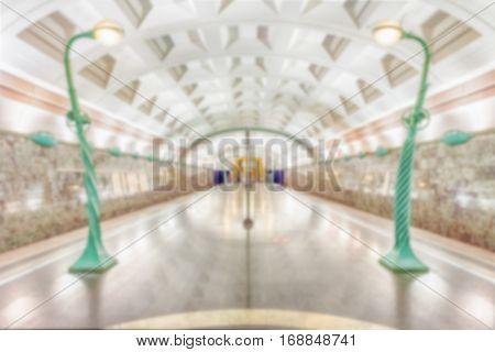 Defocused Background With Interior Of Slavyansky Bulvar Subway Station, Moscow