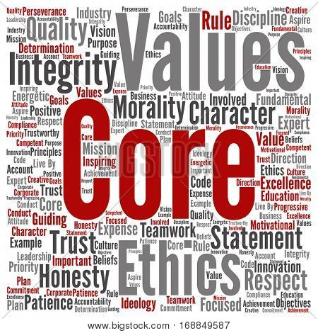 Conceptual core values integrity ethics square concept word cloud isolated on background metaphor to honesty, quality trust, statement, character, important perseverance, respect trustworthy