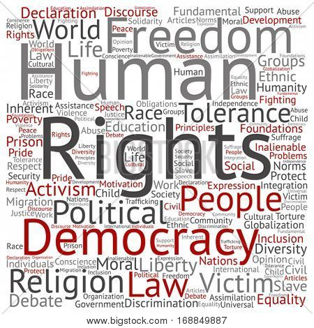 Vector concept or conceptual human rights political freedom or democracy square word cloud isolated on background  metaphor to humanity world tolerance, law principles, people justice discrimination