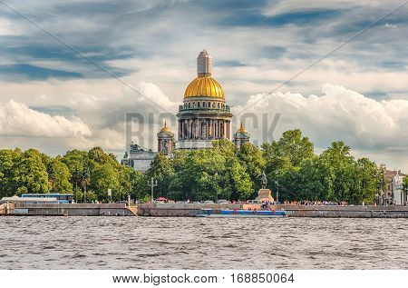 Saint Isaac's Cathedral Seen From Neva River, St. Petersburg, Russia