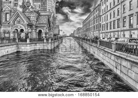 View Over The Scenic Griboyedov Canal, St. Petersburg, Russia