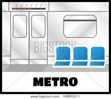 Metro train interior vector. Metro doors vector