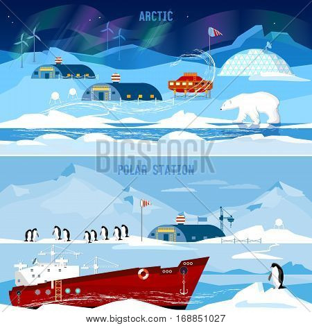 North Pole polar station banners. Scientific station studying of Antarctica and North Pole. Penguins polar bears polar lights