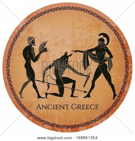 Ancient Greece scene. Classical Ancient Greek style. Black figure pottery. Hunting for a Minotaur gods fighter