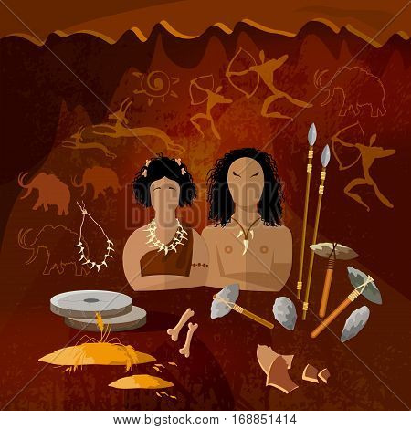 Stone age cave man and cave woman neanderthal family in a cave prehistoric tool. Neolithic paleolith mesolith beginning of a civilization. Caveman art