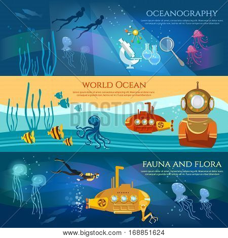 Oceanography. Sea exploration banner. Scientific research of sea and ocean yellow submarine underwater with periscope divers
