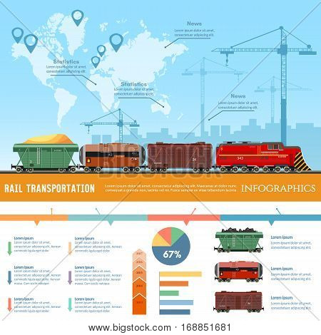 Cargo train global transport logistics presentation template. Freight trains concept. Cargo transportation by train transportation of oil gas toxic chemicals infographics