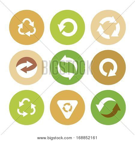 Recycle symbols. Vector icon set with recycling element.