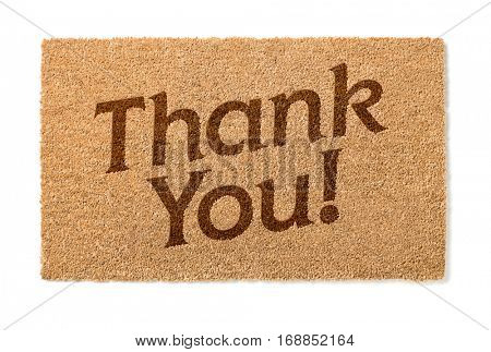 Thank You Welcome Mat Isolated On A White Background.