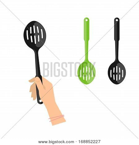 Female hand is holding slotted spoon. Flat illustration of kitchen and cooking utensils. Vector element for web design and inforaphics.