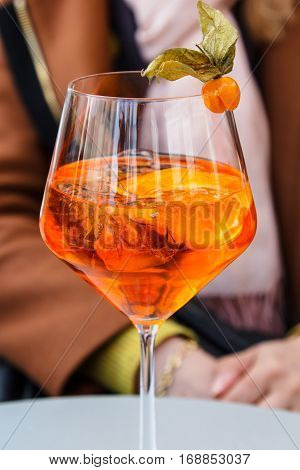 Aperol Spritz In The Glass On The Table.