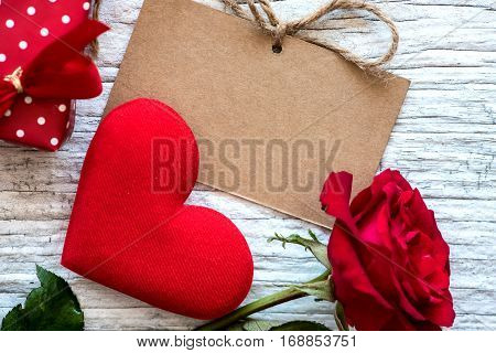 Valentines day and sweetest concept, love heart with heart and rose flower