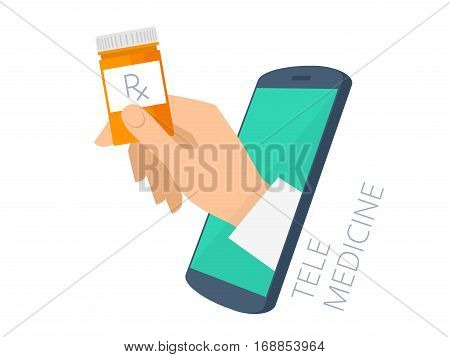 Doctor's hand holding orange container through the phone screen giving the drug cure to patient. Tele online medicine flat concept illustration. Vector design infographic element isolated on white.