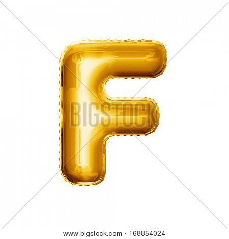Balloon letter F. Realistic 3D isolated gold helium balloon abc alphabet golden font text. Decoration element for birthday or wedding greeting design on white background