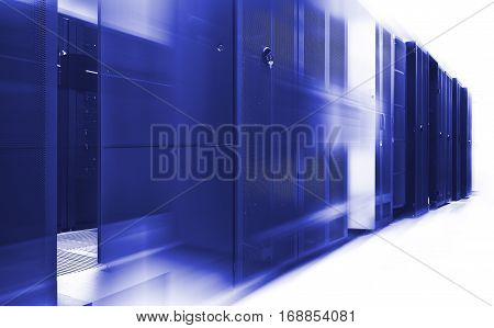 mainframe clusters in the modern data center with blur and motion Blue tone