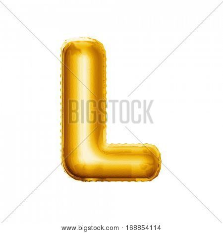 Balloon letter L. Realistic 3D isolated gold helium balloon abc alphabet golden font text. Decoration element for birthday or wedding greeting design on white background