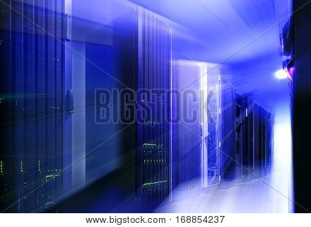 futuristic modern server room in data center