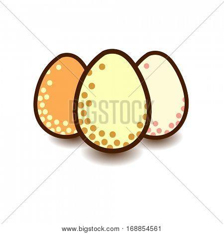 Three flat design eggs