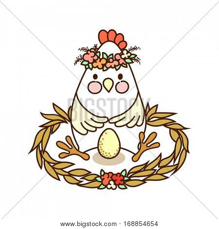 Cute chicken with egg sitting in the nest - freehand drawing