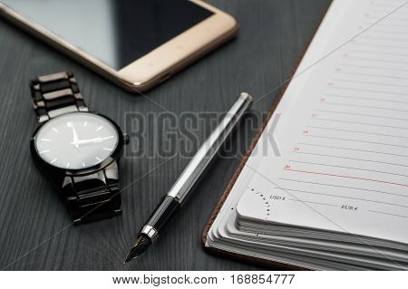 Ll Life, Business, Education Concept. Office Supplies, Blank Screen Smartphone, Gift Box, Watch, Not