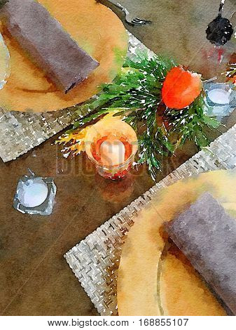 Beautiful Watercolor Place setting for thanksgiving