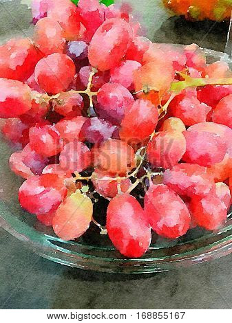 Beautiful Watercolor Painting of a Bowl Of ripe Red Grapes