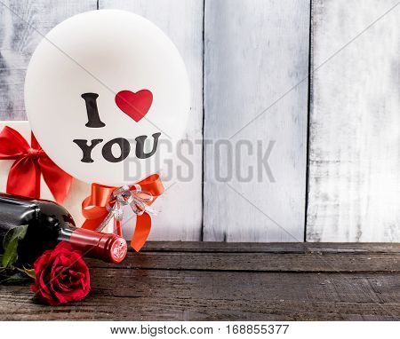Valentines day love and sweetest concept, rose flower and balloon
