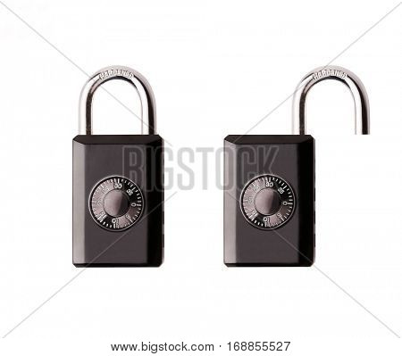 Metal padlock open and closed isolated on white background