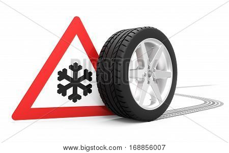 Traffic sign with winter symbol car tire with track isolated on white background 3D rendering