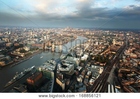 London aerial view with Tower Bridge in sunset time, UK